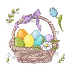 set easter design elements eggs tulips vector image