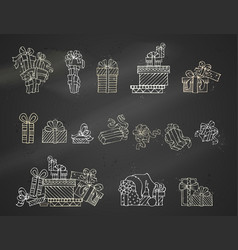 set of chalk festive gifts on blackboard vector image