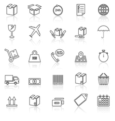 Shipping line icons with reflect on white vector image