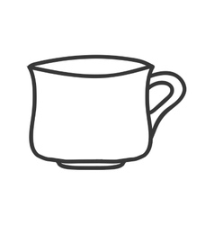 silhouette monochrome with porcelain cup vector image