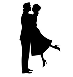 Silhouette of a couple in love vector