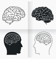Silhouette simple brain inside human head cartoon vector
