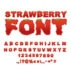 strawberry font berry abc red fresh fruit vector image