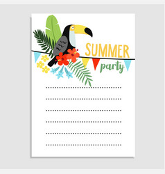 summer birthday party greeting card invitation vector image