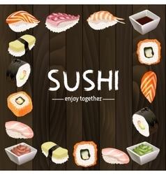 Sushi background design vector