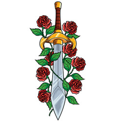 Sword and roses vector