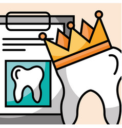 Tooth crown and clipboard report dental care vector