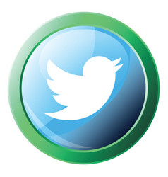Twitter logo design inside green bubble icon on a vector