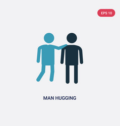 Two color man hugging icon from people concept vector