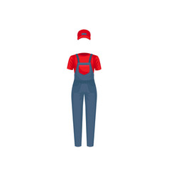 Uniform of courier red cap t-shirt and blue vector