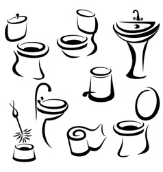 WC santary icons set vector image