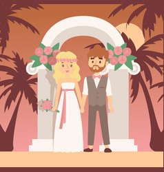 wedding ceremony on tropical island vector image