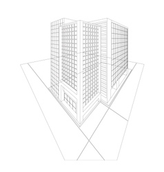 Wireframe building exterior vector