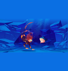 Woman scuba diver and shark under water in sea vector