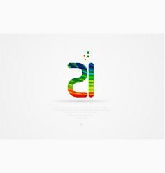 Zi z i rainbow colored alphabet letter logo vector