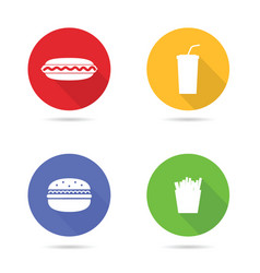 fast food white icon in color circle vector image vector image