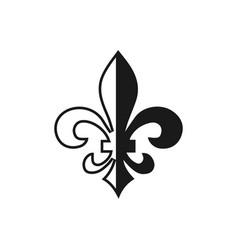 fleur de lis symbol silhouette - heraldic symbol vector image vector image
