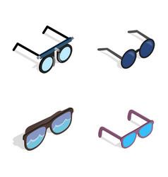 glasses icon set isometric style vector image