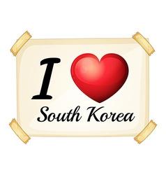 I love South Korea vector image