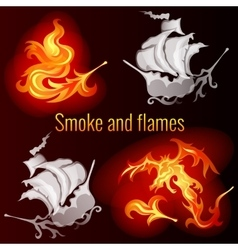 Smoke and flames dark background vector