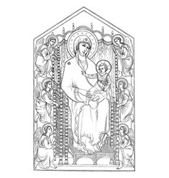 the madonna enthroned can be found in the vector image