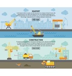 Building construction crane flat banners set vector image vector image