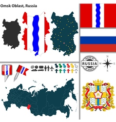 Map of Oblast of Omsk vector image vector image