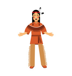 native american indian in traditional costume vector image vector image