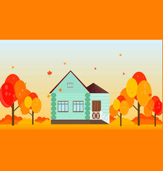 village house in autumn season background vector image