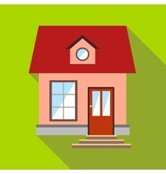 Little pink house icon flat style vector image