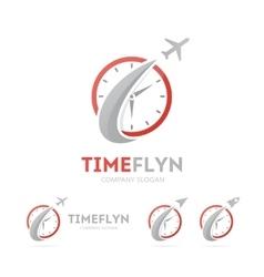 Rocket and clock logo combination vector