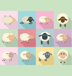 sheep cute lamb farm iicons set flat style vector image