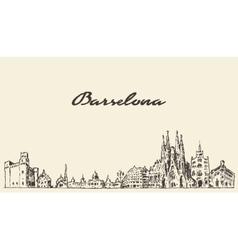 Barcelona Spain vintage hand drawn sketch vector image vector image