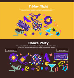 Dance party at friday night promotional internet vector