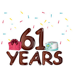 happy birthday sixty one 61 years vector image