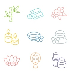 Set of spa and recreation icons in linear style vector image vector image