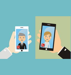 video call mobile meeting online video chat vector image