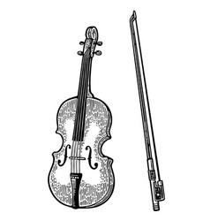 violin vintage black engraving vector image