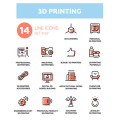 3d printing - line design icons set vector image