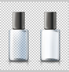 3d realistic transparent bottles plaid bg vector image