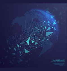 abstract globe earth with connecting dots vector image