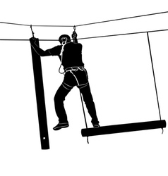 adventure park rope ladder vector image