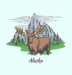 Alaska poster with moose and mountains vector