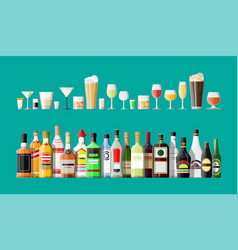 Alcohol drinks collection bottles with glasses vector