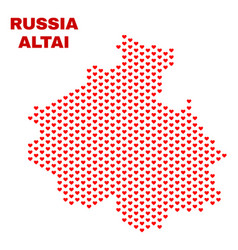 altai republic map - mosaic of lovely hearts vector image