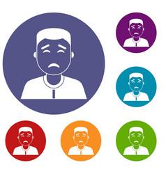 Asian man icons set vector