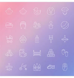 Baby and Toys Line Icons Set over Blurred vector image