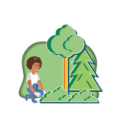 Boy with eco friendly scene vector