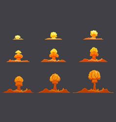 Bright flat explosion animation set vector