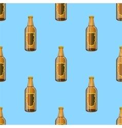 Brown Glass Beer Bottles Seamless Pattern vector